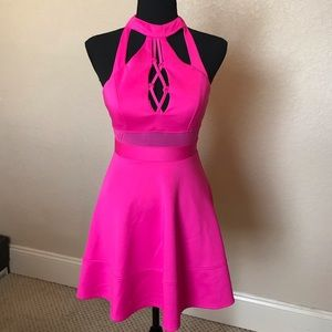 Hot pink fit in flare dress!